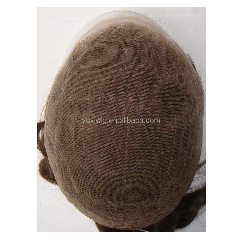 Natural French Lace Remy Toupee Hair Replacement Piece with Perfect Bleach Knot