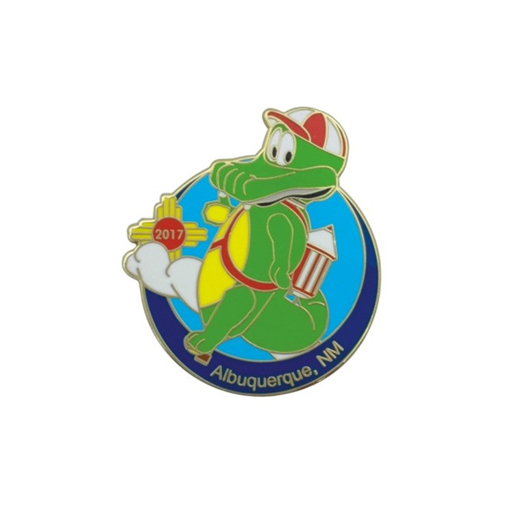 Custom Cute Cartoon Crocodile Soft Enamel Badge With Your Own <strong>Design</strong>