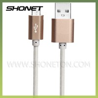 wholesale data sync and charge fabric textile micro usb cable for cellphone