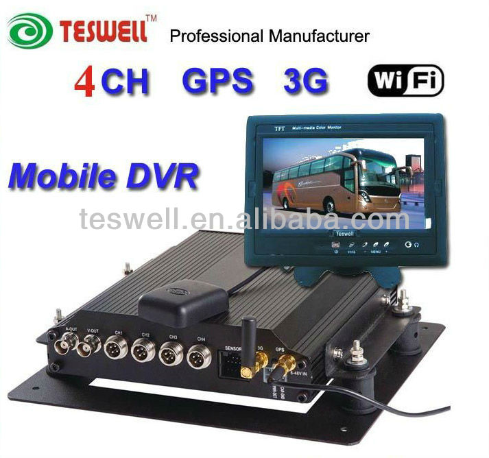 Fanless Mobile DVR 4-Channel H.264 Video capture and compression with Built-in 3G Wireless Communication