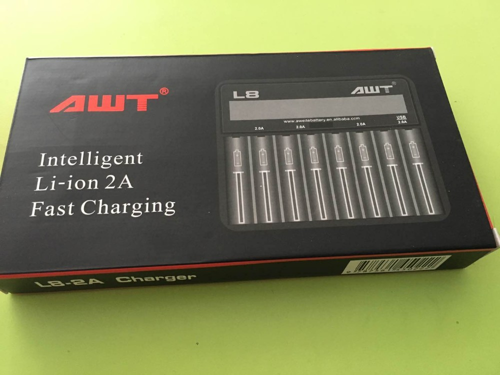 vape mods 2017 New design 8slot intelligent 18650 li-ion battery charger,2A fast charger rechargeable awt battery charger