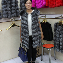 Hot Sale Long Style Genuine Silver Fox Fur Vest For Women Daying China Fur