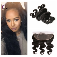 Grade 8A Body Wave Lace Frontals with Baby Hair Virgin Brazilian Human Hair Bundles