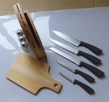 Promotional Fine 7pcs S/S Kitchen Knife Set with Wooden Block