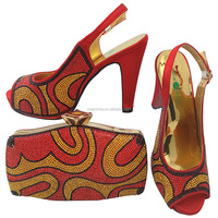 Women's african shoes and bag set with genuine leather italian shoes and bag sets CSB 849 for shoes and bag