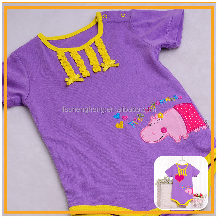 2016 fashion certified organic cotton fabric made baby summer clothes