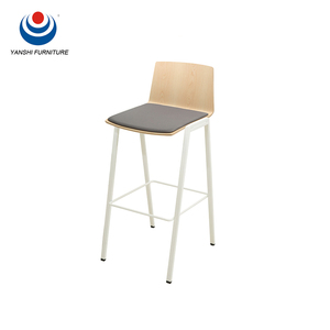 High quality wooden bar stool high chair with stainless steel chair legs