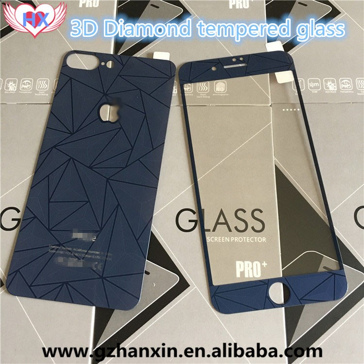 3D Diamond Colorful Screen Protector Case Film for Iphone 4 5 6 6S Plus,Front+Back Tempered Glass Mirror effect Color for Iphone