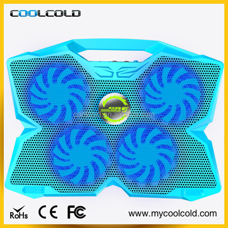 New portable handle laptop cooling pad, 4 big fans for 17 inch laptop cooling pad