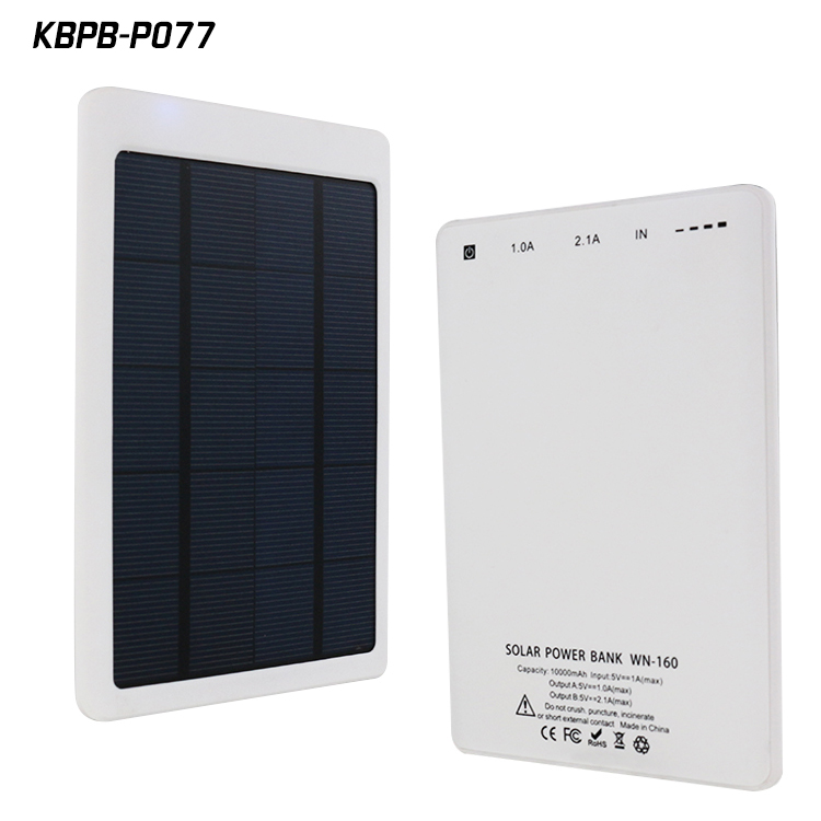 Ultra thin solar 10000mah li-ion polymer battery charger power bank