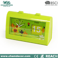 2015 new small rectangle date and day calendar flip alarm clock , battery operated calendar clock