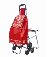 Fashion product multi color shopping trolley bag with chair
