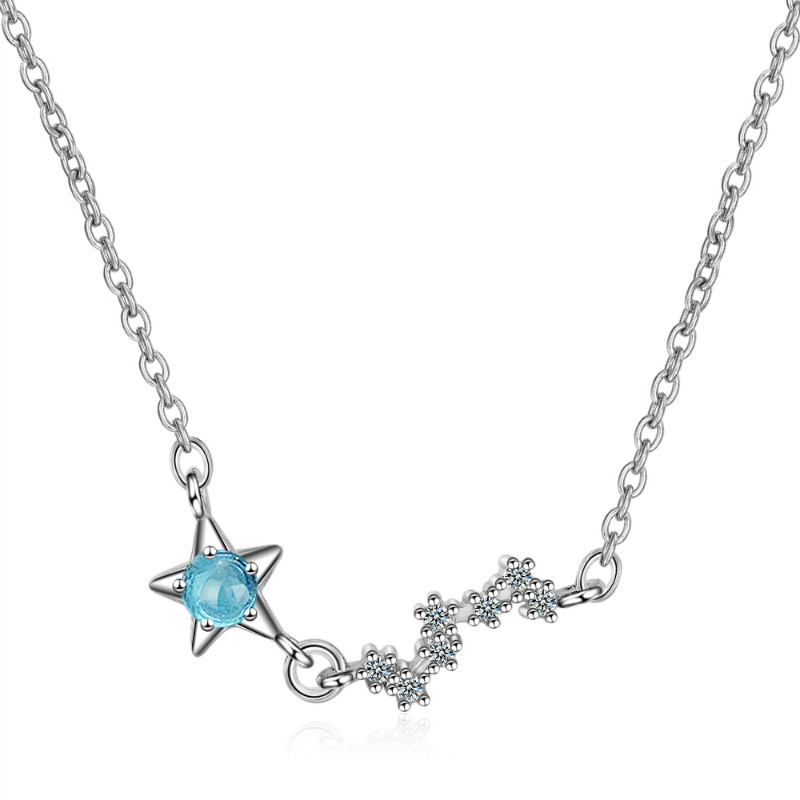 2019 Valentine's Day Gift 925 Sterling Silver necklace Hollowing Blue Crystal Star <strong>Jewelry</strong> For Women