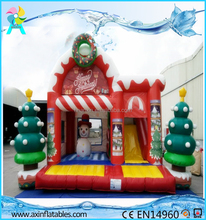 Merry Christmas Commercial Inflatable juming Bouncer castle with Slide