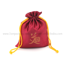 Colorful Drawstring Silk Jewelry Packaging Pouch Satin Drawstring Bag