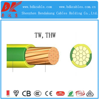 tw multi conductor 2.5mm single core cable 600V PFA tw cable 4mm yellow and green wire with PVC sheathed tw awg 19 solid wire