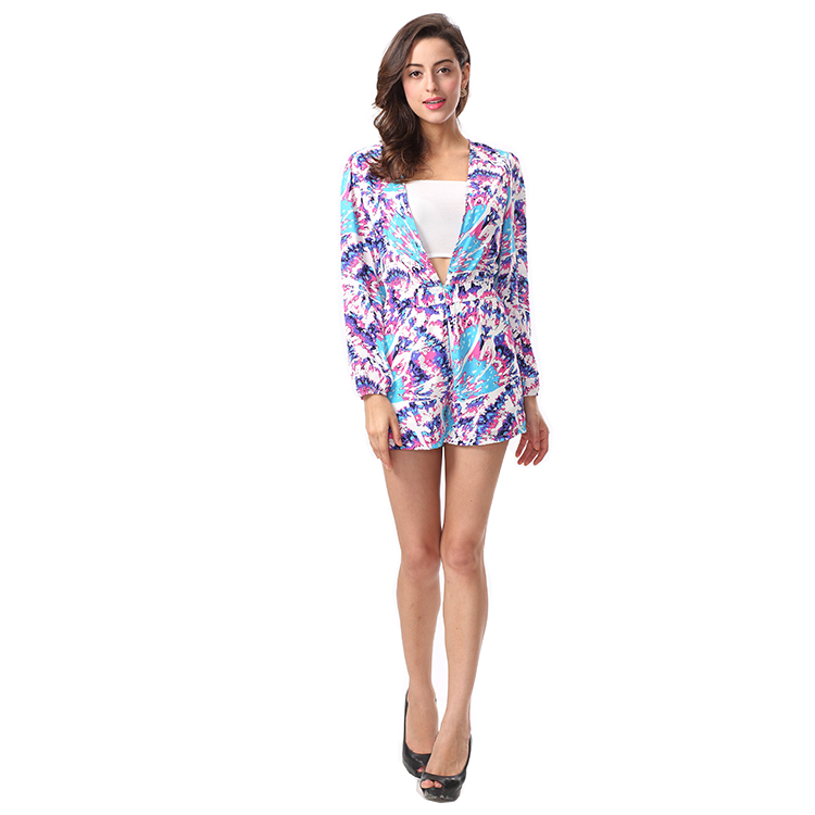Long Sleeve Tropical Print Summer Jumpsuit