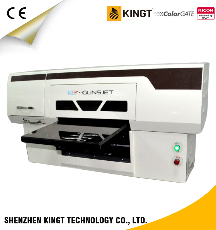 Kingt YG-4550C Ricoh GH2220 economical a3 UV flatbed printer with white ink circling and mixing function