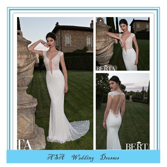 Fashion Style Sexy Mermaid Wedding Dress Lace Beach Wedding Dress Berta Bridal Beaded Sheer Lace Wedding Dresses 2015(BTB06)