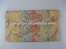brocade silk flower embroidery envelope purse with velcro