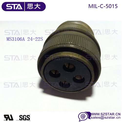 Mil Spec Connector Circular, 4Way, Size 24,MS3106A24-22S Military connector