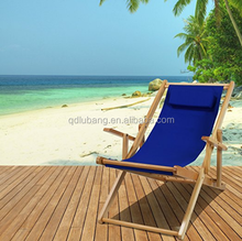 Heavy Duty Commercial Grade Oak Wood Beach Chair / Chaise Lounger