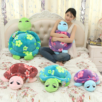 50/60/78cm beautiful customized plush tortoise/cuckold doll bolster/pillow toy with printing flowers on back(colourful)