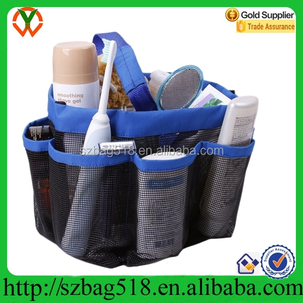 Quick Dry Hanging Toiletry and Bath Organizer shower mesh washing bag with 8 Storage Compartments