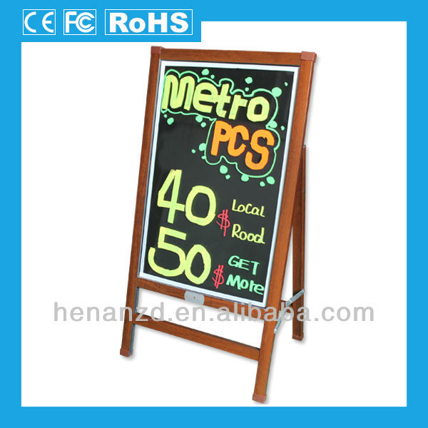 Coffee color wood-like frame and stand used led outdoor advertising board