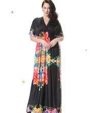 Showlands 95 Viscose 5 Spandex Bohemia Printed long dresses Fat women dresses pictures