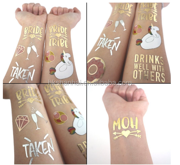 Funny bachelorette tattoo and Bride Tribe Temporary Tattoos, Metallic Shiny Gold Flash