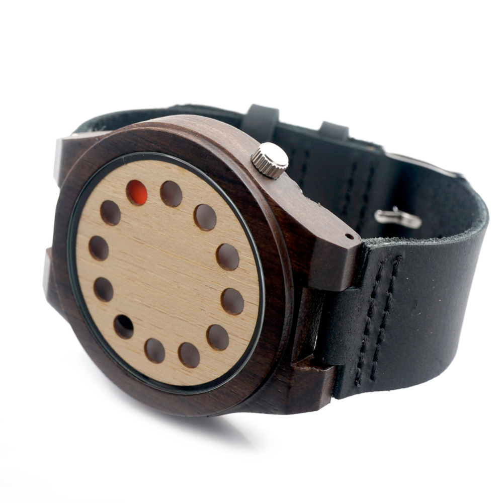 Top Selling Casual Analog Metal Pin Buckle Black Leather Strap Mens Watch quartz wood watch