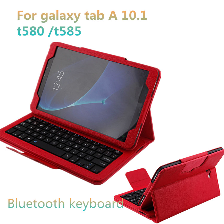 Ultra Thin PU Leather Cover Bluetooth Keyboard Case for Samsung Galaxy Tab A SM-T580N 10.1 inch
