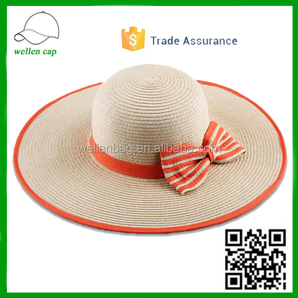 New fashion hot sale cheap price chapeau beach big wide brim beach hat brief paper straw hat with bowkont for girls