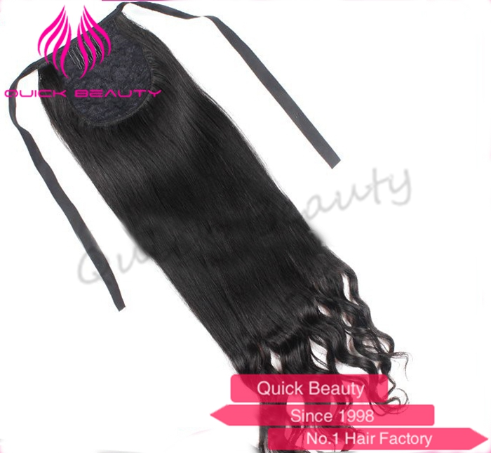 100%Pretty unprocessed cambodian hair weave raw hair claw clip ponytail human hair extension