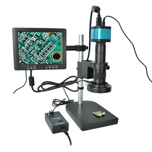 "Full Set 14MP Industrial Microscope Camera HDMI USB Outputs with 180X C-mount Lens +8"" HD LCD Monitor + 60 LED Light Microscopes"