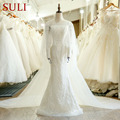 SL-123 Two Pieces Lace With Cape Sheer Neck Beaded Long Mermaid Wedding Dress 2018