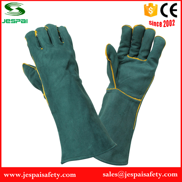 23 inches Dark Green safety goat grain leather welding gloves on hand