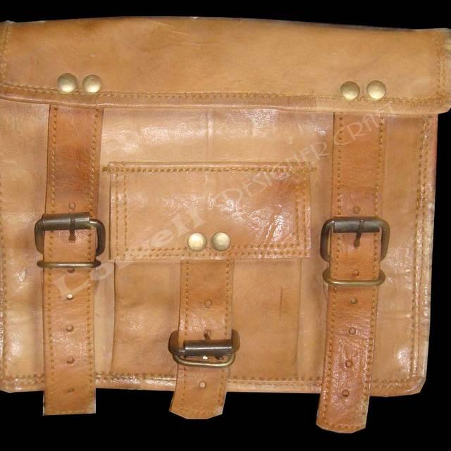 Handmade Vintage Style Goat Leather Briefcase Satchel, Laptop Bag, Messenger Bag