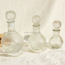250ml 500ml clear ball shape wine glass bottles with glass stoppe