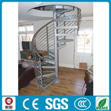 modern steel portable glass spiral stairs design for indoor house