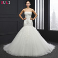 Q-029 Sexy Strapless Tulle Lace Appliques Luxury Beaded 2016 Mermaid Wedding Dress