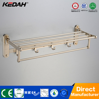 High quality bathroom accessory towel rack mounting hardware towel rack shelf with removable hook
