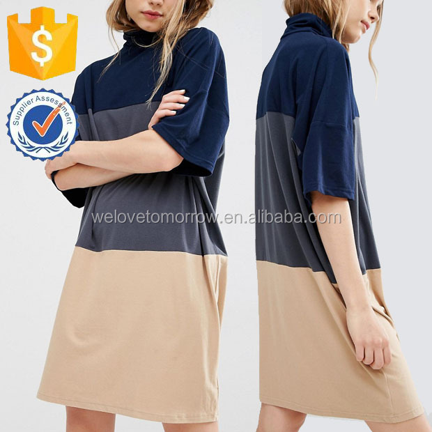 Turtle Neck Jersey Dresses With Three Wide Stipes Spring Summer Manufacture Wholesale Fashion Women Apparel (TF0483D)