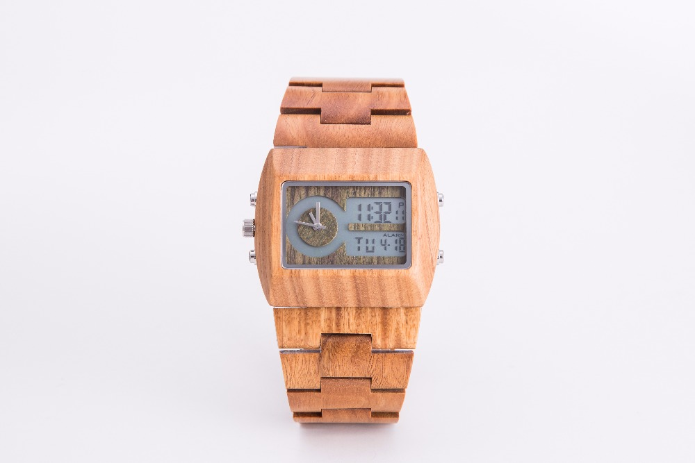 Fashion square shaped digital waterproof wooden watch