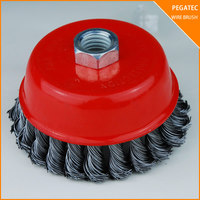 Twist knot steel wire brush for rust paiting cleaning/welding burs removing