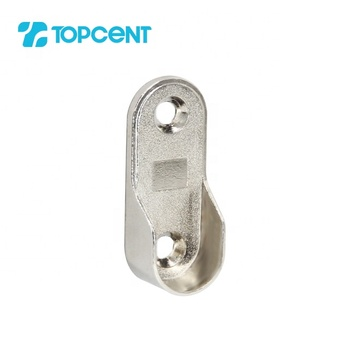 16/19mm chrome plated oval wardrobe hanging clothing tube holder rod flange hanging rail tube support