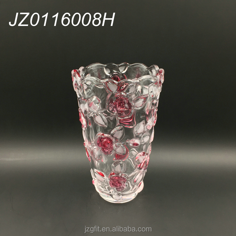 24cm cylinder crystal glass vase with flower design for wedding decoration and home