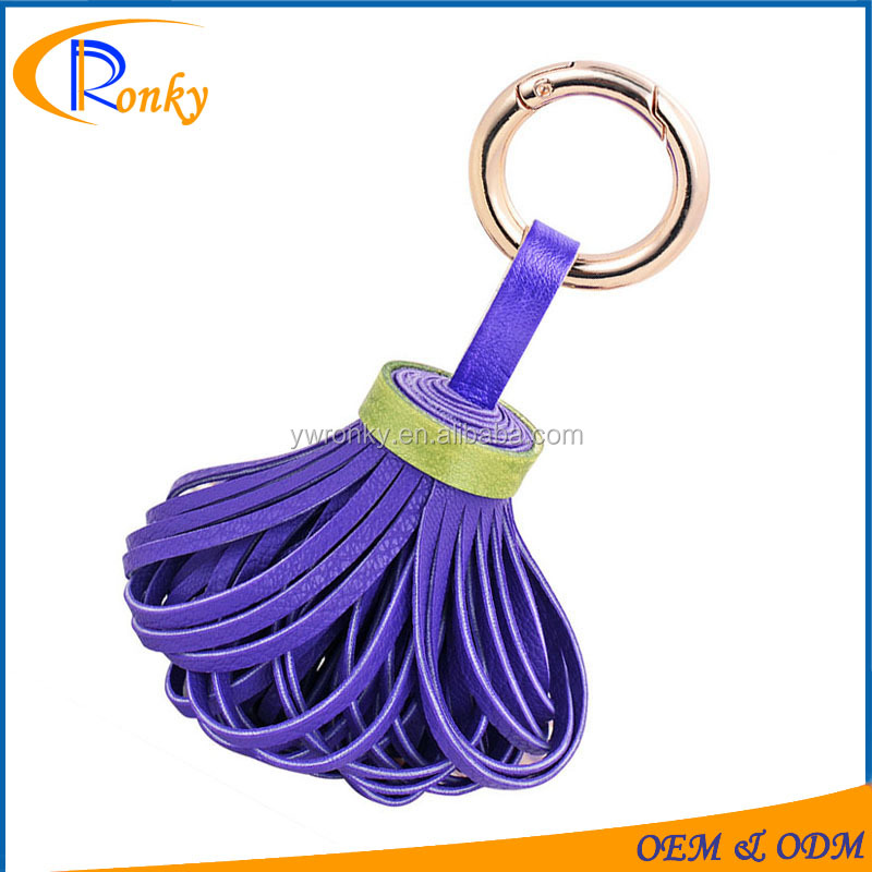 Popular wholesale charms for bag women accessory wholesale leather tassels key chain ring