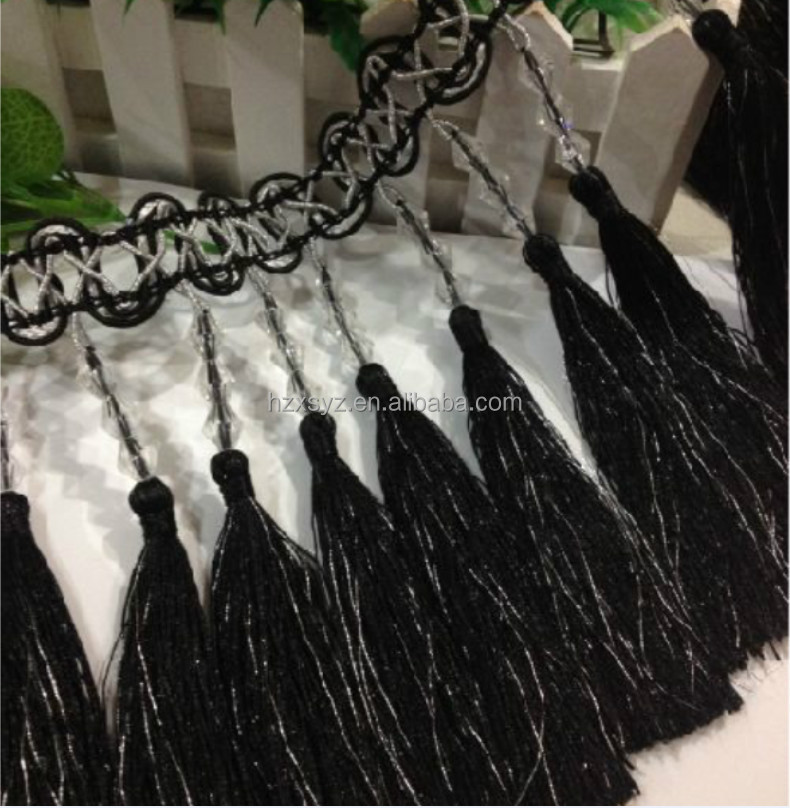 hangzhou curtain tassel fringe with beaded for home decor